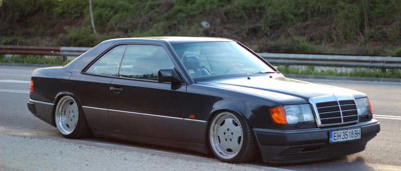 This European Mercedes Benz W124 Coupe is slammed on a nive set of 17&quot; AMG Aero I 3 piece wheels. - Mercedes Benz W124 Coupe on AMG Aero I 3 Piece Wheels