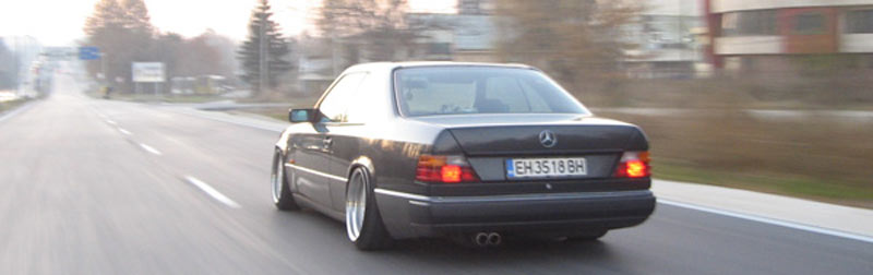 Rolling shot... Bye! - Mercedes Benz W124 Coupe on AMG Aero I 3 Piece Wheels