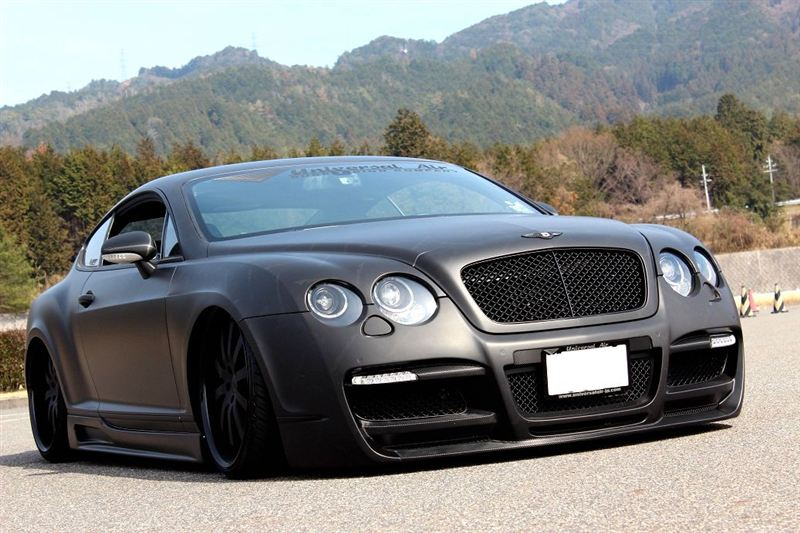 Flat Black Bentley Continental GT Bagged with ASI Aero Kit