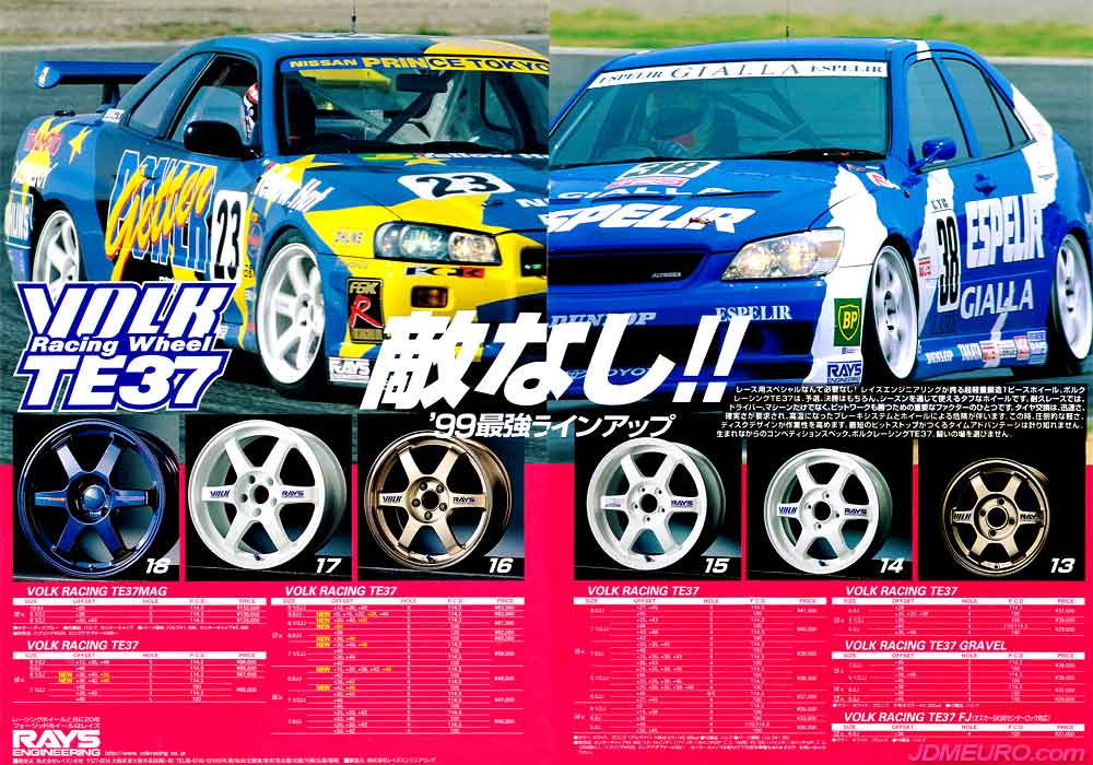 The Volk Racing TE37 are the most popular JDM Wheels from Japanese wheel maker Rays Engineering. The Volk Racing TE37 also comes in different versions such as the Magnesium Volk Racing TE37MAG, Volk Racing TE37 Gravel and Volk Racing TE37 FJ. Pictured are the Volk Racing TE37 on a Nissan Skyline GTR R34 and on a Toyota Altezza [ JDM Lexus IS300 ].