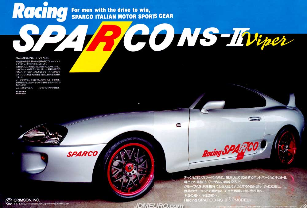 The Racing Sparco NS-II Viper were one of the most popular JDM Wheels in the late 90's. The Racing Sparco NS-II Viper feature 2 piece welded construction, and a very popular mesh design. The Racing Sparco NS-II Viper were produced by Crimson Inc but manufactured by Enkei Wheels in Japan. Pictured are the Racing Sparco NS-II Viper mounted on a Toyota Supra JZA80.
