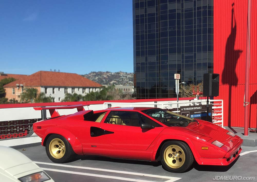 Lamborghini Countach at Radwood 2018 at Petersen Automotive Museum in Los Angeles, California. This famous belong to Matt Farah of The Smoking Tire fame.